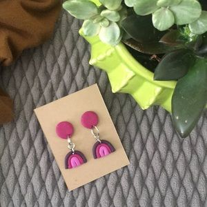 Purple Rainbow Clay Earrings